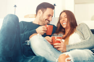 couple having coffee at home