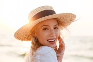 woman enjoying sunshine